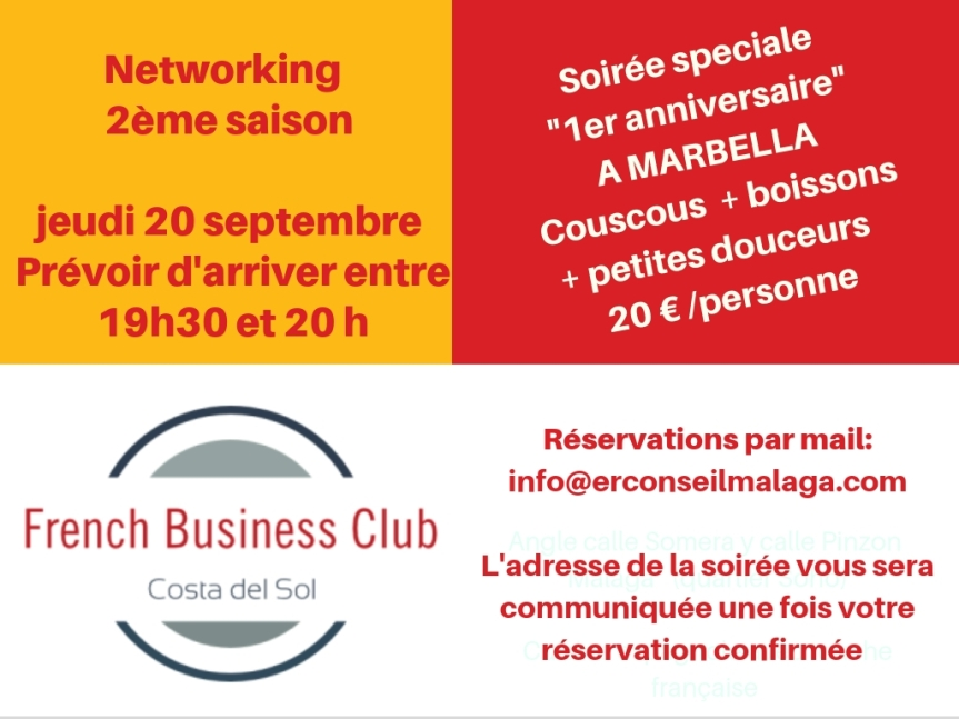 French Business Club Costa del Sol:        1er anniversaire – Networking